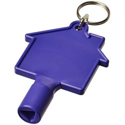 Maximilian house-shaped meterbox key with keychain, ABS Plastic, Purple