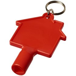 Maximilian house-shaped meterbox key with keychain, ABS Plastic, Red