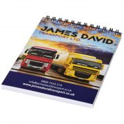 Desk-Mate® wire-o A6 notebook, Paper, White, solid black, 50