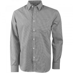 Net long sleeve shirt, Male, Yarn dyed check poplin of 55% Cotton and 45% Polyester with wrinkle resistant finish, Grey, XXL
