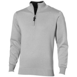 Set quarter zip pullover, Unisex, Flat knit of 100% Cotton 12 Gauge, Grey, M