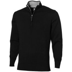 Set quarter zip pullover, Unisex, Flat knit of 100% Cotton 12 Gauge, solid black, S