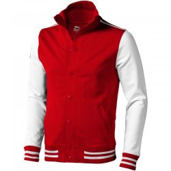 Varsity sweat jacket, Unisex, French Terry knit of 100% Cotton, Red,Off-White, XS