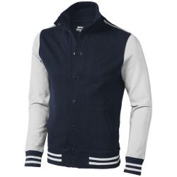 Varsity sweat jacket, Unisex, French Terry knit of 100% Cotton, Navy,Off-White, XS