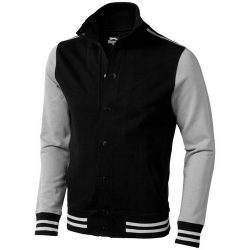 Varsity sweat jacket, Unisex, French Terry knit of 100% Cotton, solid black,Grey, L