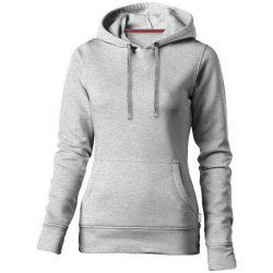 Alley hooded ladies sweater, Female, French Terry of 50% Cotton and 50% Polyester, Grey melange, S