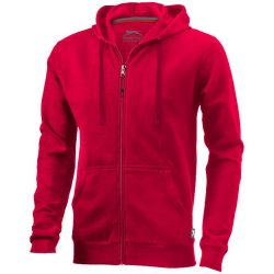 Open full zip hooded sweater, Male, French Terry of 50% Cotton and 50% Polyester, Red, XXL