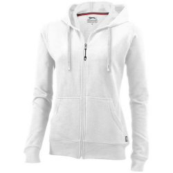 Open full zip hooded ladies sweater, Female, French Terry of 50% Cotton and 50% Polyester, White, XXL