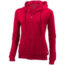 Open full zip hooded ladies sweater, Female, French Terry of 50% Cotton and 50% Polyester, Red, XL