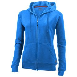 Open full zip hooded ladies sweater, Female, French Terry of 50% Cotton and 50% Polyester, Sky blue, L