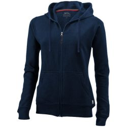Open full zip hooded ladies sweater, Female, French Terry of 50% Cotton and 50% Polyester, Navy, XXL
