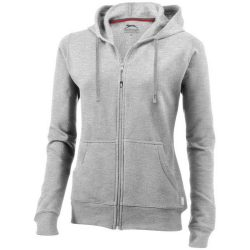 Open full zip hooded ladies sweater, Female, French Terry of 50% Cotton and 50% Polyester, Grey melange, M