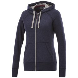 Groundie full zip ladies hoodie, Female, Slub yarn knit of 56% Polyester, 37% Cotton and 7% Rayon with French Terry back, HEATHER BLUE, L