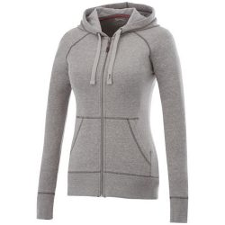Groundie full zip ladies hoodie, Female, Slub yarn knit of 56% Polyester, 37% Cotton and 7% Rayon with French Terry back, Grey melange, M