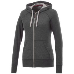 Groundie full zip ladies hoodie, Female, Slub yarn knit of 56% Polyester, 37% Cotton and 7% Rayon with French Terry back, Heather Smoke, L