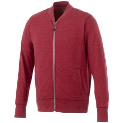 Stony track jacket, Male, Slub yarn knit of 56% Polyester, 37% Cotton and 7% Rayon with French Terry back, Heather red, L
