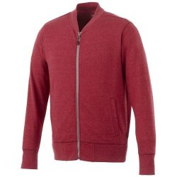 Stony track jacket, Male, Slub yarn knit of 56% Polyester, 37% Cotton and 7% Rayon with French Terry back, Heather red, XXS