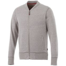 Stony track jacket, Male, Slub yarn knit of 56% Polyester, 37% Cotton and 7% Rayon with French Terry back, Grey melange, XXL
