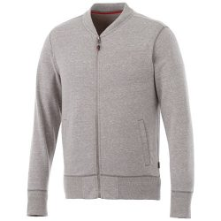 Stony track jacket, Male, Slub yarn knit of 56% Polyester, 37% Cotton and 7% Rayon with French Terry back, Grey melange, XXS