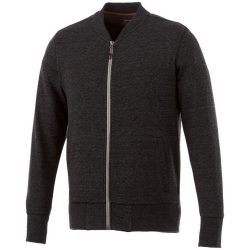 Stony track jacket, Male, Slub yarn knit of 56% Polyester, 37% Cotton and 7% Rayon with French Terry back, Heather Smoke, XL