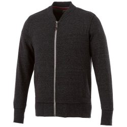 Stony track jacket, Male, Slub yarn knit of 56% Polyester, 37% Cotton and 7% Rayon with French Terry back, Heather Smoke, XXS