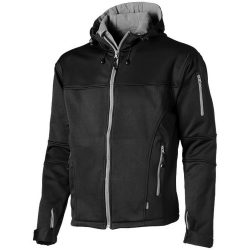 Match softshell jacket, Male, Single Jersey knit of 100% Polyester bonded with 100% Polyester micro fleece, solid black, S
