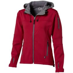 Match ladies softshell jacket, Female, Single jersey knit of 100% Polyester bonded with 100% Polyester micro fleece, Red, L