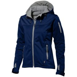 Match ladies softshell jacket, Female, Single jersey knit of 100% Polyester bonded with 100% Polyester micro fleece, Navy, XXL