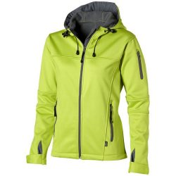 Match ladies softshell jacket, Female, Single jersey knit of 100% Polyester bonded with 100% Polyester micro fleece, Mid Green, L