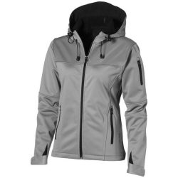 Match ladies softshell jacket, Female, Single jersey knit of 100% Polyester bonded with 100% Polyester micro fleece, Grey, L