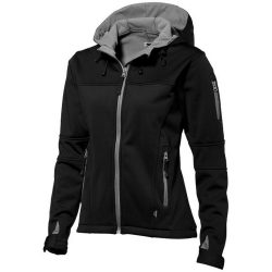 Match ladies softshell jacket, Female, Single jersey knit of 100% Polyester bonded with 100% Polyester micro fleece, solid black, L