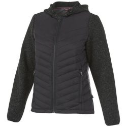 Hutch women's hybrid insulated jacket, Female, 100% Nylon full dull cire, 380T woven, with PA coating and water repellent finish Contrast fabric: 100% Polyester knit with brushed back, Heather Smoke, L