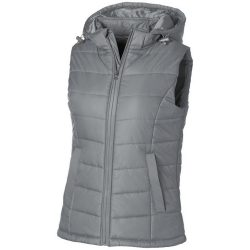 Mixed Doubles ladies bodywarmer, Female, Diamond check fabric of 100% Nylon with AC white coating, Grey, M