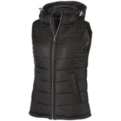 Mixed doubles ladies bodywarmer, Female, Diamond check fabric of 100% nylon with AC white coating, solid black, XXL