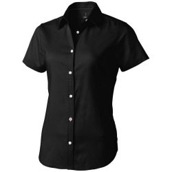 Manitoba short sleeve ladies shirt, Female, Oxford of 100% Cotton 40x32/2, 110x50, solid black, S