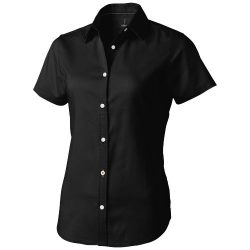 Manitoba short sleeve ladies shirt, Female, Oxford of 100% Cotton 40x32/2, 110x50, solid black, M