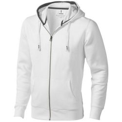 Arora hooded full zip sweater, Male, Knit of 80% Cotton and 20% Polyester, brushed on the inside, White, XS