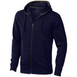 Arora hooded full zip sweater, Male, Knit of 80% Cotton and 20% Polyester, brushed on the inside, Navy, XXXL