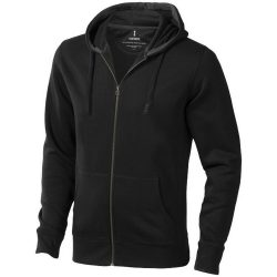 Arora hooded full zip sweater, Male, Knit of 80% Cotton and 20% Polyester, brushed on the inside, Anthracite, XXXL