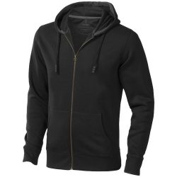 Arora hooded full zip sweater, Male, Knit of 80% Cotton and 20% Polyester, brushed on the inside, solid black, XXL