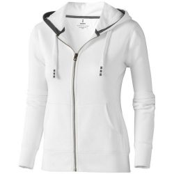 Arora hooded full zip ladies sweater, Female, Knit of 80% Cotton and 20% Polyester, brushed on the inside, White, S