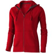 Arora hooded full zip ladies sweater, Female, Knit of 80% Cotton and 20% Polyester, brushed on the inside, Red, L