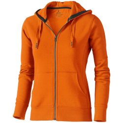 Arora hooded full zip ladies sweater, Female, Knit of 80% Cotton and 20% Polyester, brushed on the inside, Orange, XL