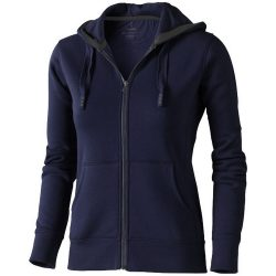 Arora hooded full zip ladies sweater, Female, Knit of 80% Cotton and 20% Polyester, brushed on the inside, Navy, L