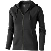 Arora hooded full zip ladies sweater, Female, Knit of 80% Cotton and 20% Polyester, brushed on the inside, Anthracite, XS
