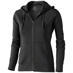 Arora hooded full zip ladies sweater, Female, Knit of 80% Cotton and 20% Polyester, brushed on the inside, Anthracite, M
