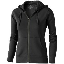 Arora hooded full zip ladies sweater, Female, Knit of 80% Cotton and 20% Polyester, brushed on the inside, Anthracite, XXL