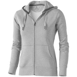 Arora hooded full zip ladies sweater, Female, Knit of 80% Cotton and 20% Polyester, brushed on the inside, Grey melange, L