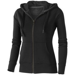Arora hooded full zip ladies sweater, Female, Knit of 80% Cotton and 20% Polyester, brushed on the inside, solid black, L