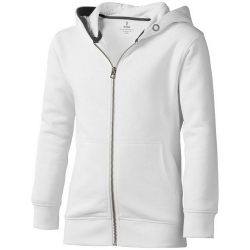 Arora hooded full zip kids sweater, Kids, Knit of 80% Cotton and 20% Polyester, brushed on the inside, White, 140